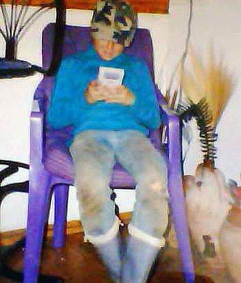 Daniel playing Gameboy